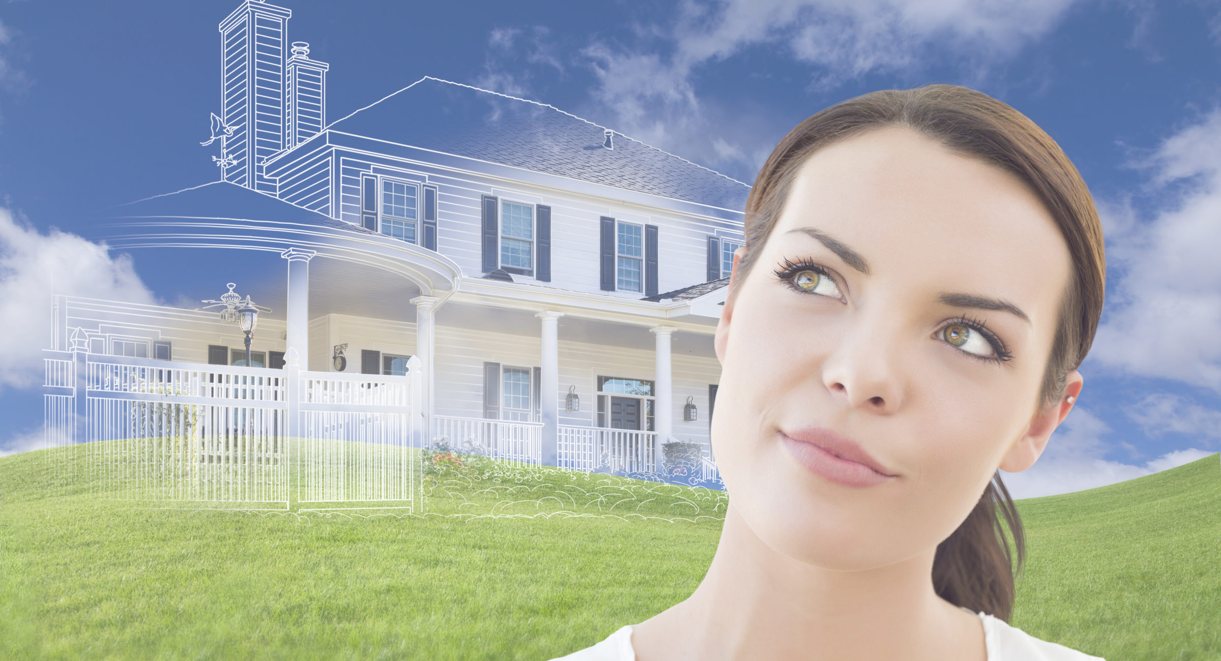 Curious Mixed Race Female Looks Over to Ghosted House Drawing, Partial Photo and Rolling Green Hills Behind.